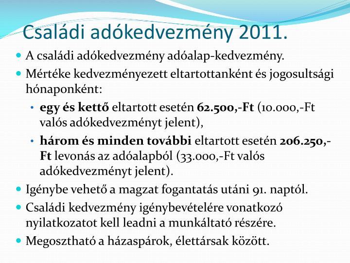 Családi adókedvezmény 2011.