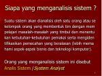 siapa yang menganalisis sistem