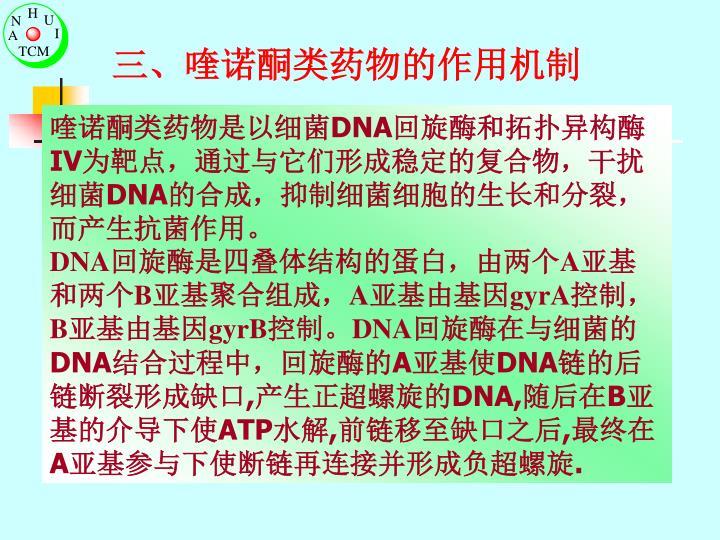 三、喹诺酮类药物的作用机制
