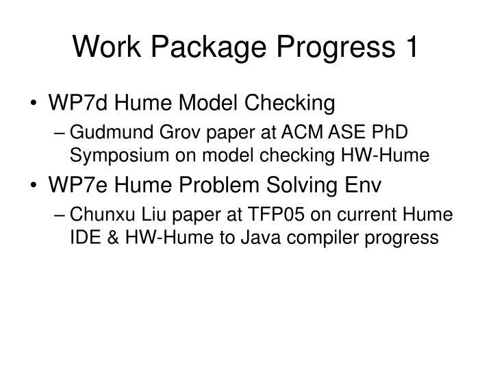 Work Package Progress 1