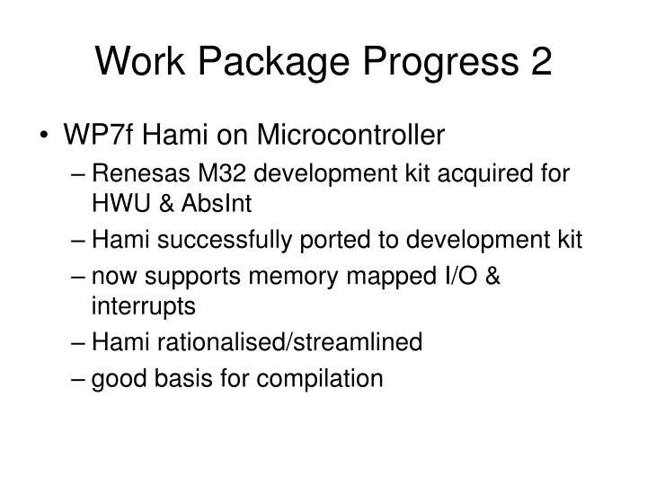 Work Package Progress 2
