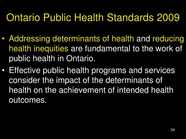 Ontario Public Health Standards 2009