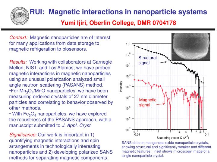 rui magnetic interactions in nanoparticle systems yumi ijiri oberlin college dmr 0704178