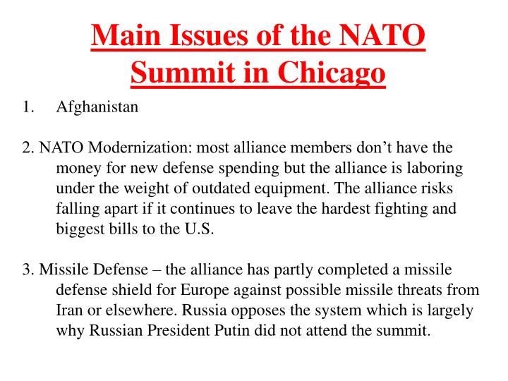 Main Issues of the NATO Summit in Chicago