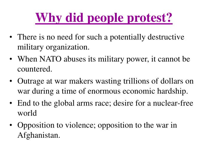 Why did people protest?