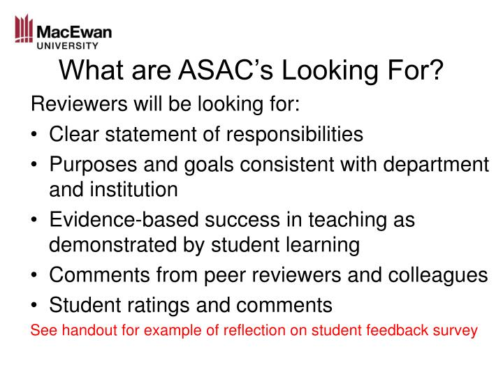 What are ASAC's Looking For?