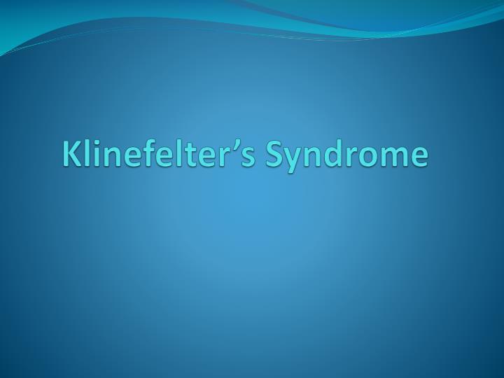 klinefelter s syndrome n.