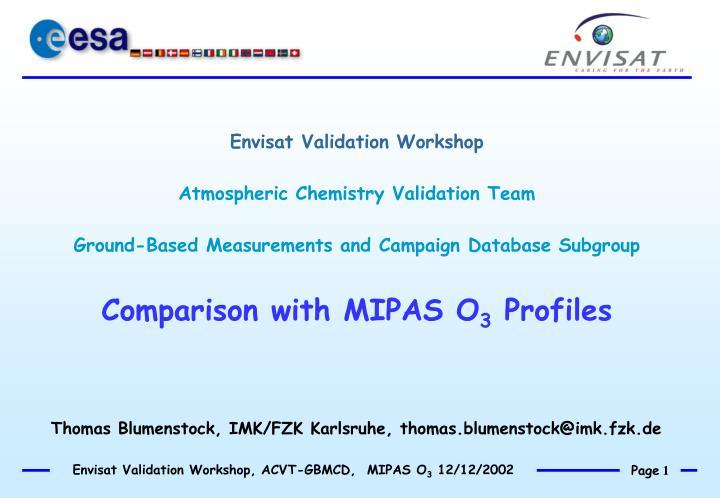 Envisat Validation Workshop