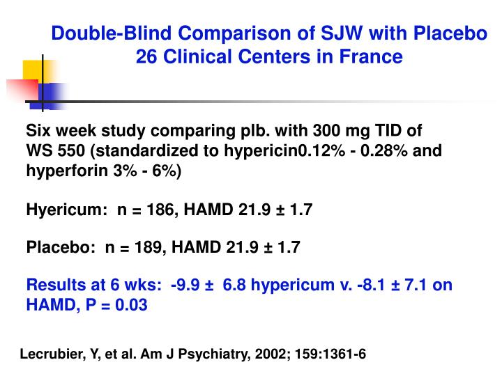 Double-Blind Comparison of SJW with Placebo