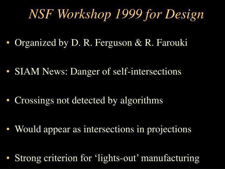 NSF Workshop 1999 for Design