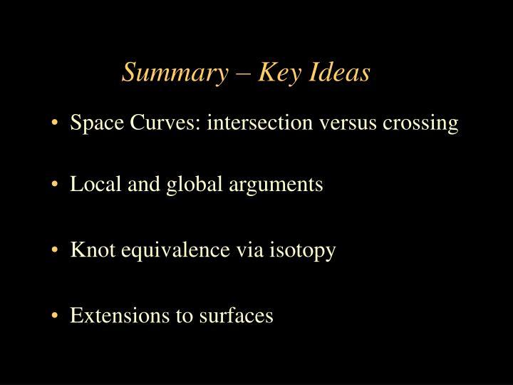 Summary – Key Ideas