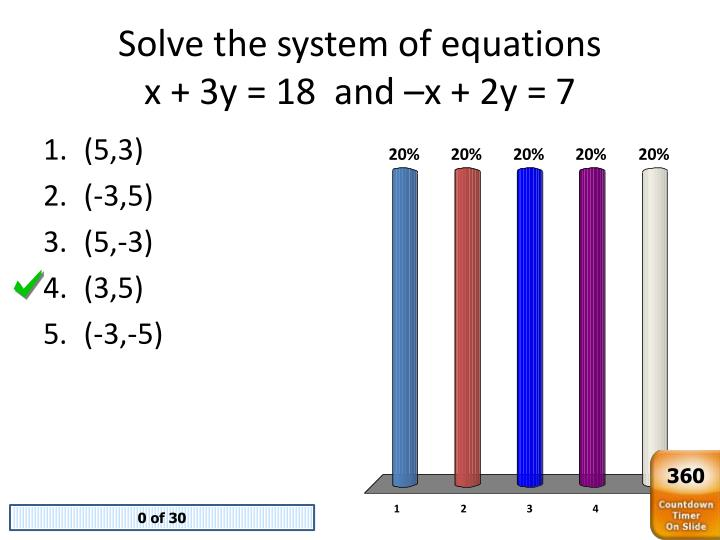 Solve the system of equations x 3y 18 and x 2y 7