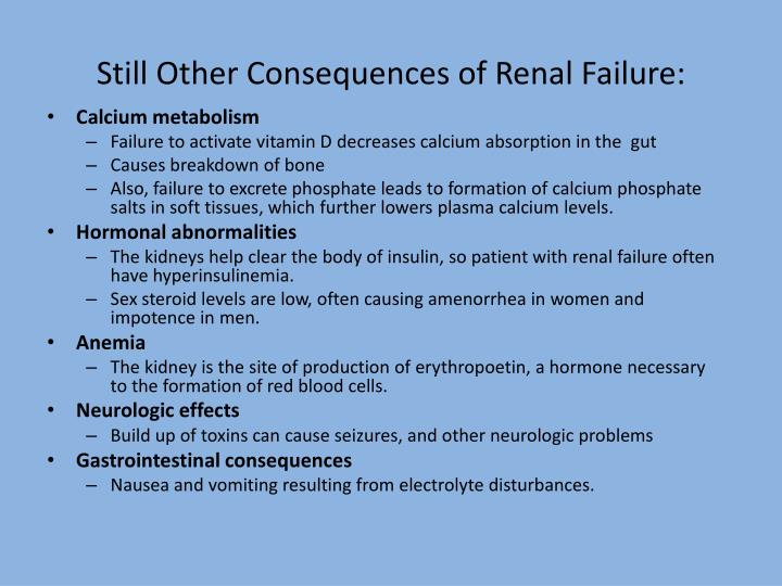 Still Other Consequences of Renal Failure: