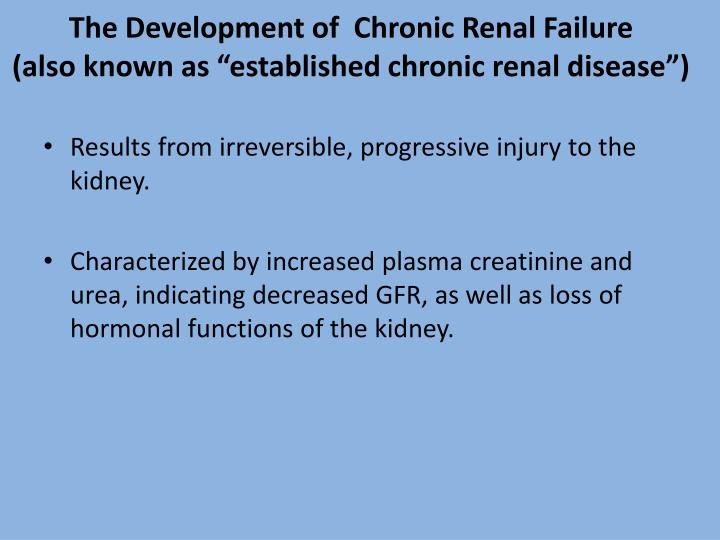 The Development of  Chronic Renal Failure
