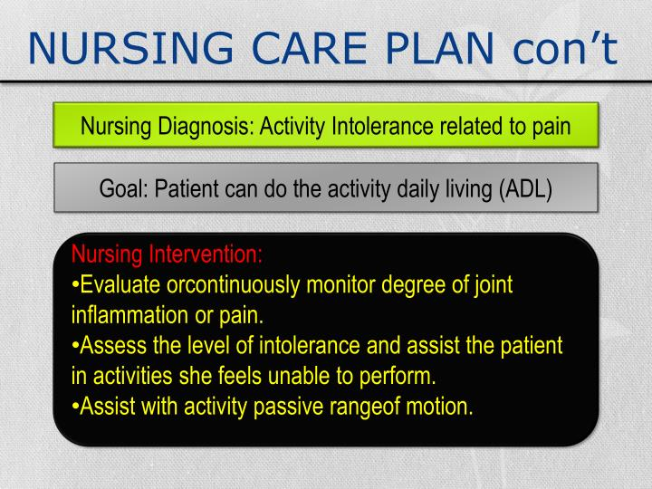 nursing care plan for activity intolerance Activity intolerance may also be related to factors such as obesity, malnourishment, side effects of medications (eg, -blockers), or emotional states such as depression or lack of confidence to exert one's self nursing goals are to reduce the effects of inactivity, promote optimal physical activity, and assist the patient to maintain a.
