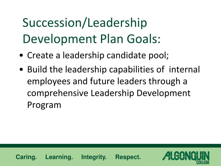 Succession leadership development plan goals