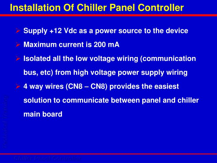 Installation Of Chiller Panel Controller