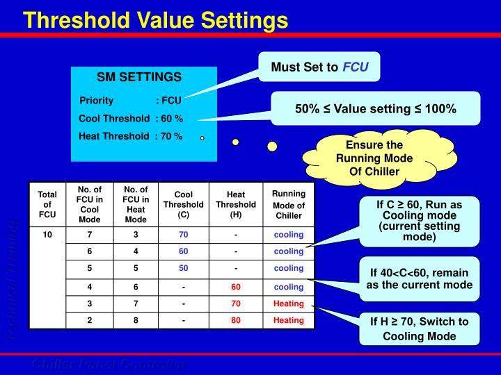 Threshold Value Settings