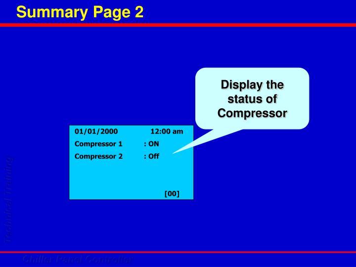 Display the status of Compressor