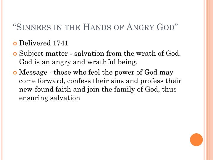 """Sinners in the Hands of Angry God"""