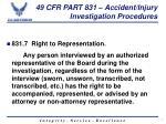 49 cfr part 831 accident injury investigation procedures