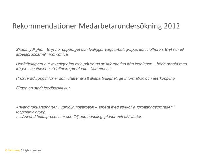 Rekommendationer medarbetarunders kning 2012
