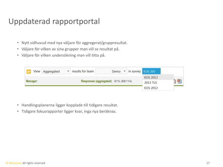 Uppdaterad rapportportal