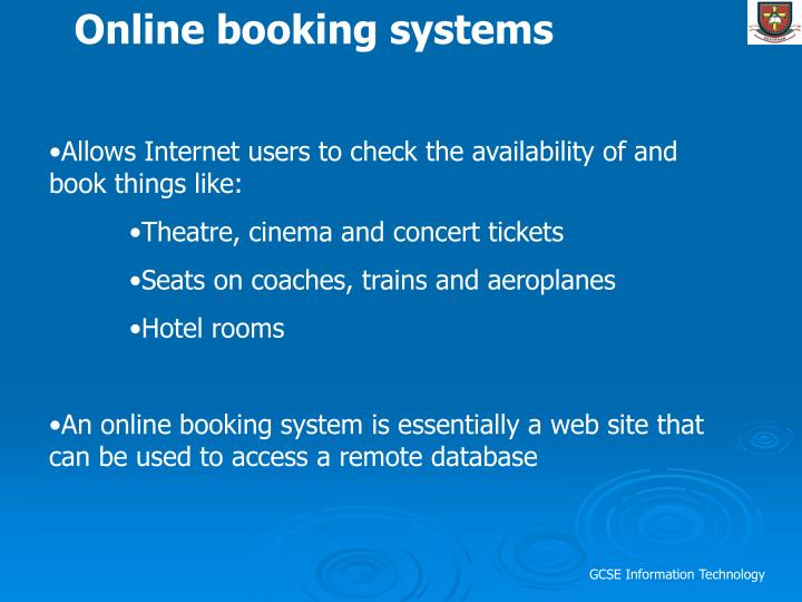 Online booking systems