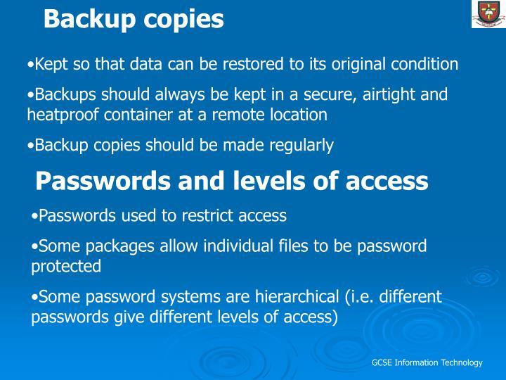 Backup copies