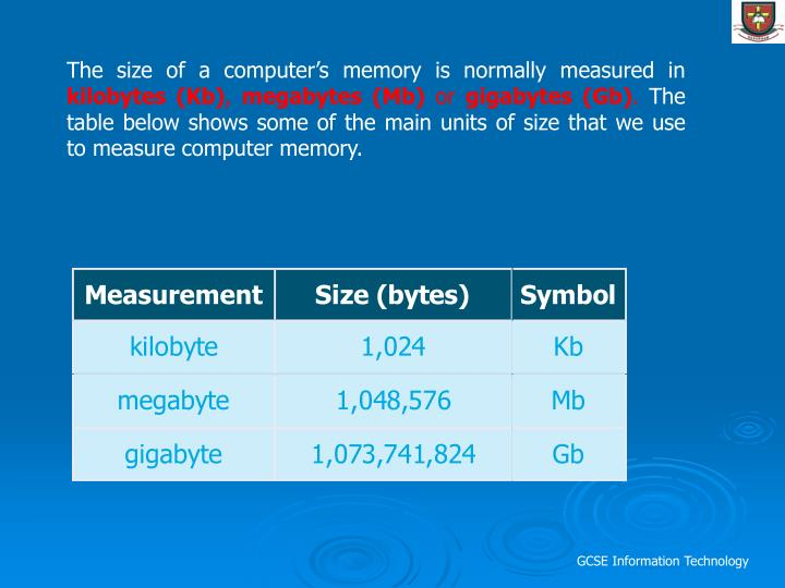 The size of a computer's memory is normally measured in