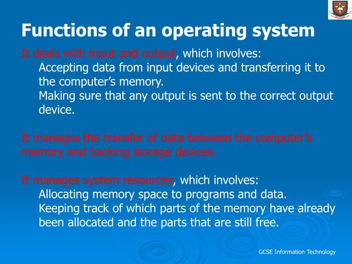 Functions of an operating system