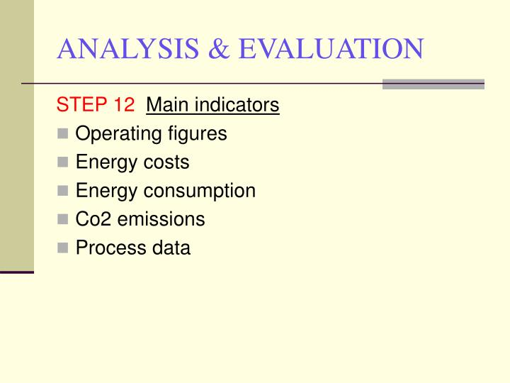 ANALYSIS & EVALUATION