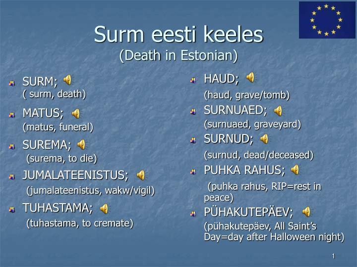 surm eesti keeles death in estonian n.