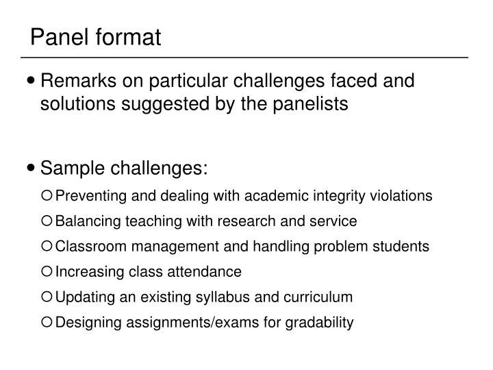 Panel format