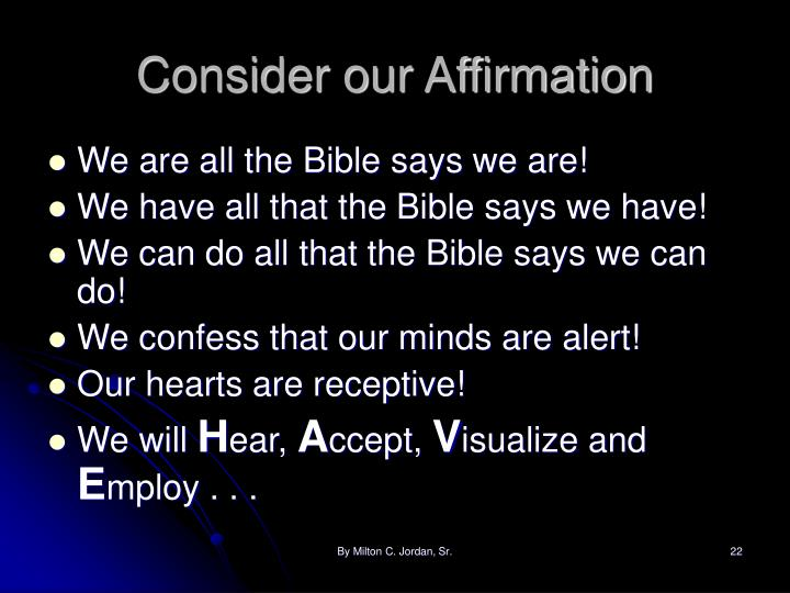 Consider our Affirmation