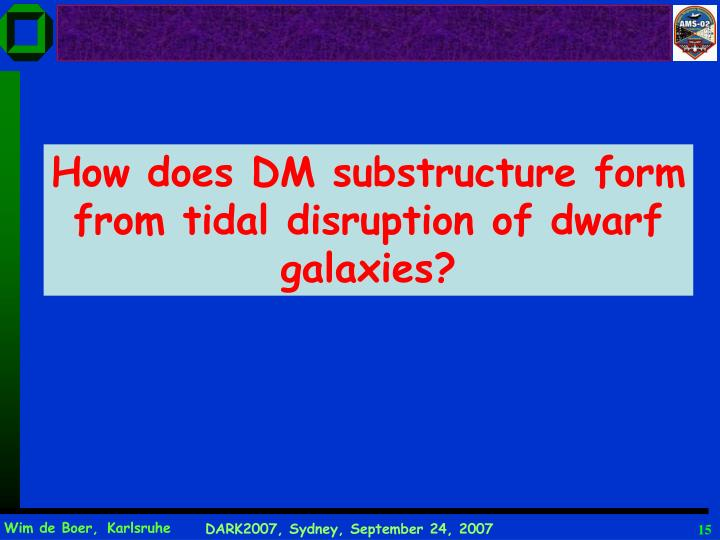How does DM substructure form