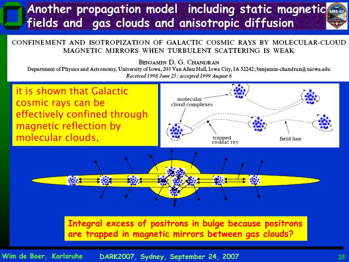 Another propagation model  including static magnetic fields and  gas clouds and anisotropic diffusion