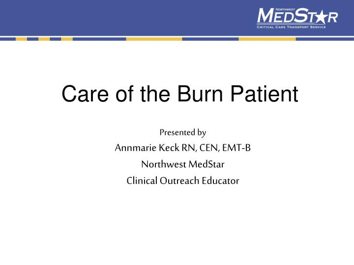 Care of the burn patient