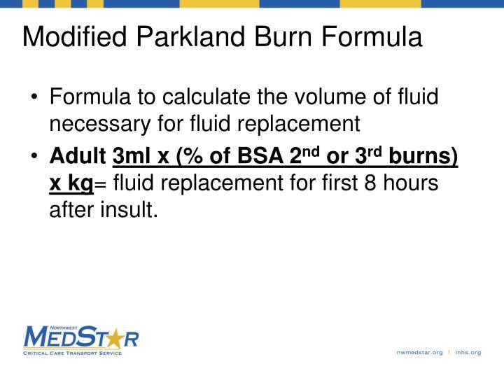 Modified Parkland Burn Formula