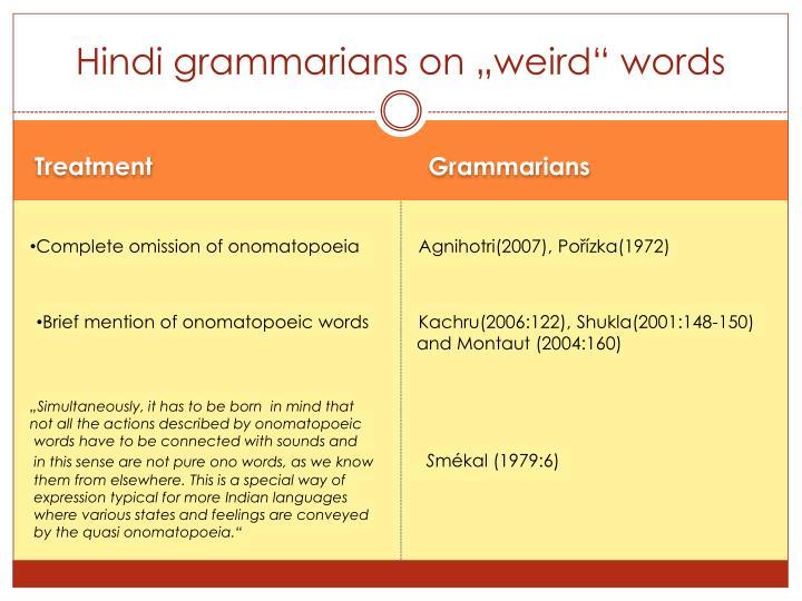 """Hindi grammarians on """"weird"""" words"""
