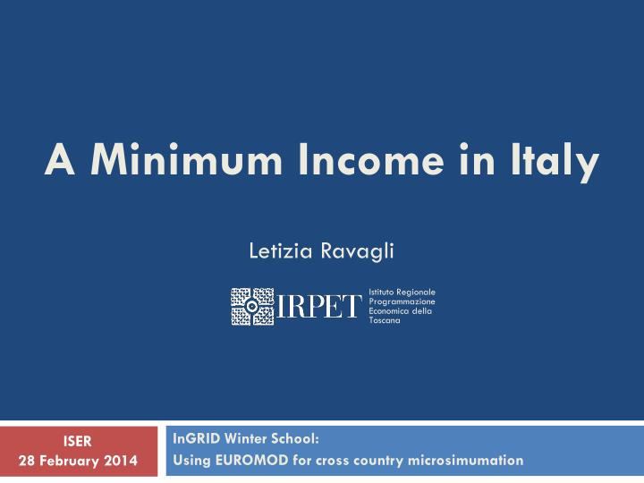 A Minimum Income in Italy