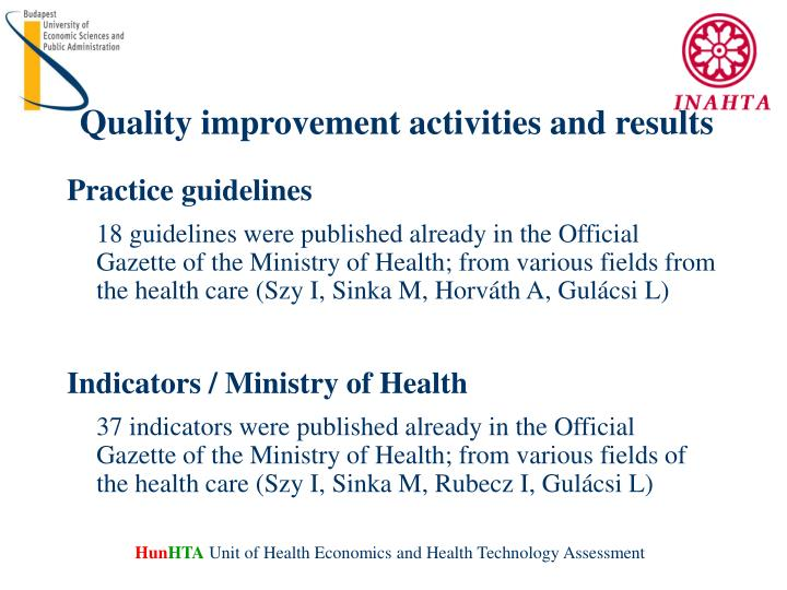 Quality improvement activities and results