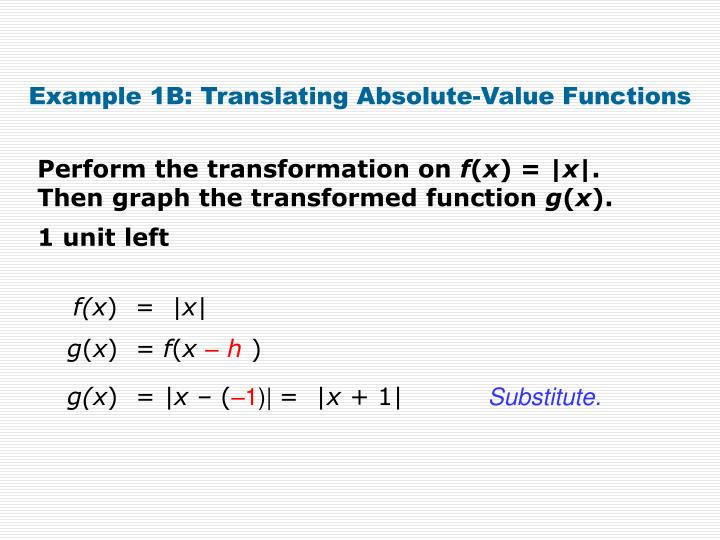 Example 1B: Translating Absolute-Value Functions