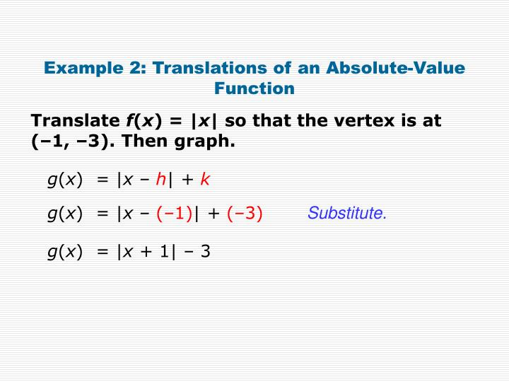 Example 2: Translations of an Absolute-Value Function