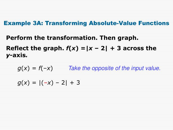 Example 3A: Transforming Absolute-Value Functions