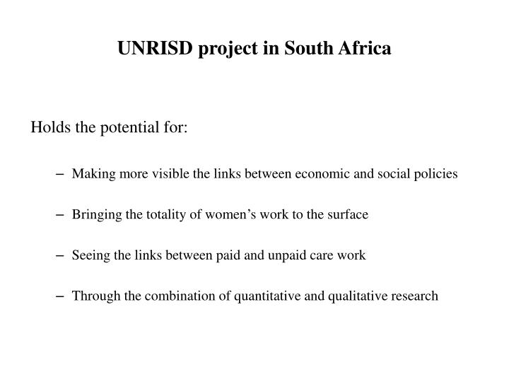 Unrisd project in south africa