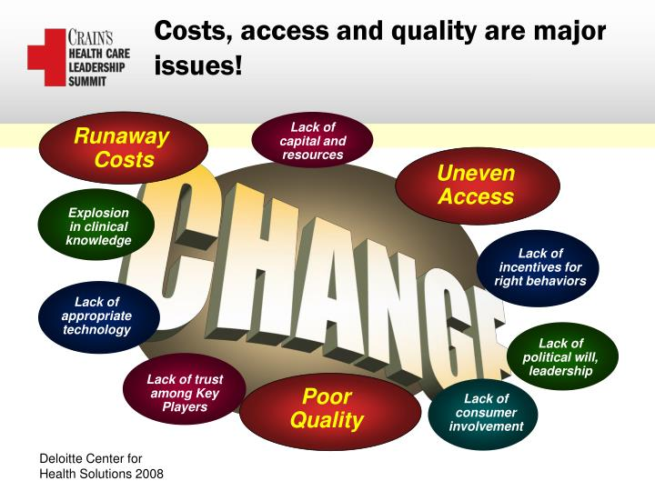 Costs access and quality are major issues
