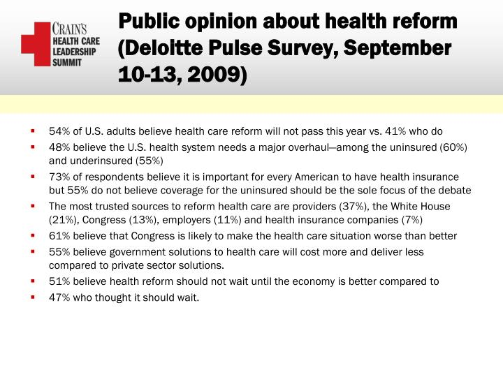 Public opinion about health reform
