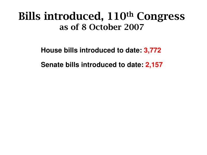 Bills introduced, 110