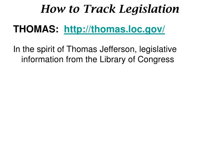 How to Track Legislation